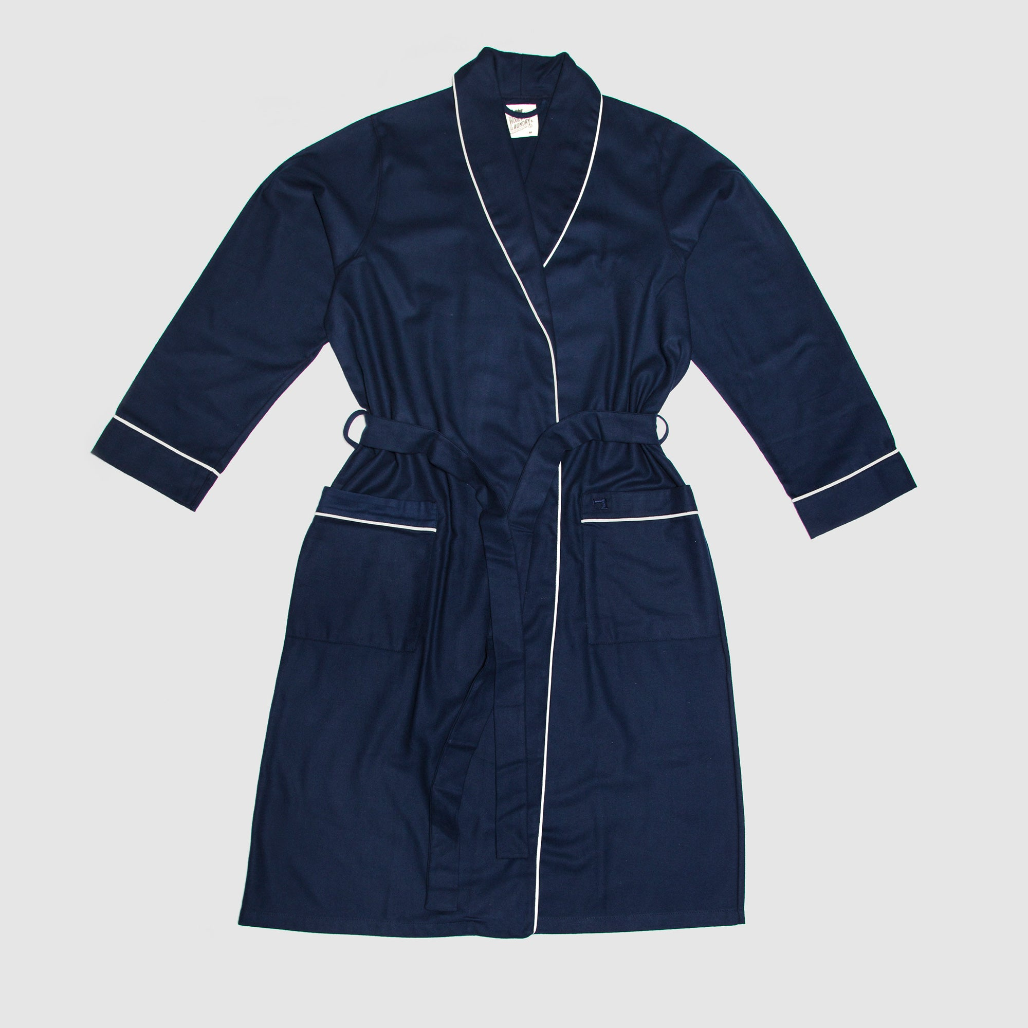 Gown Navy Flannel White Piping - Woodstock Laundry