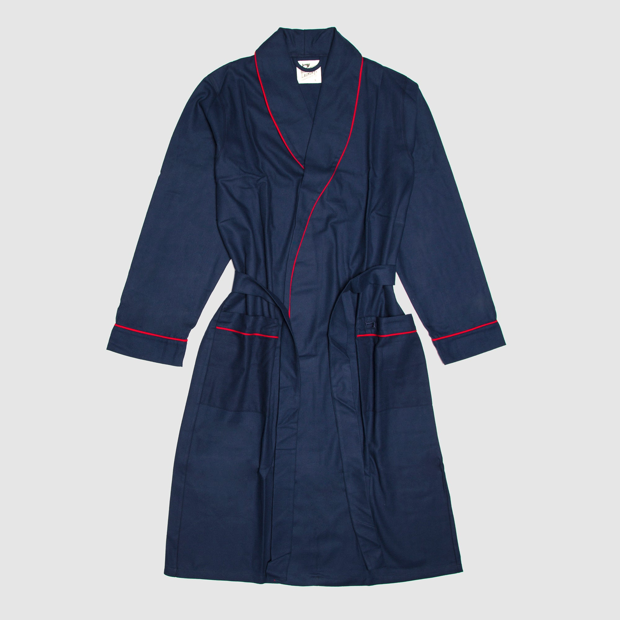 Gown Navy Flannel Red Piping - Woodstock Laundry