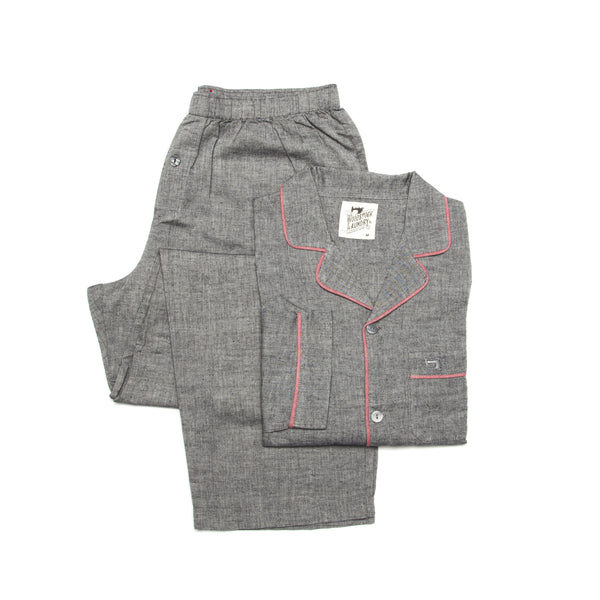 Pyjamas Charcoal Chambray Pink Piping - Woodstock Laundry