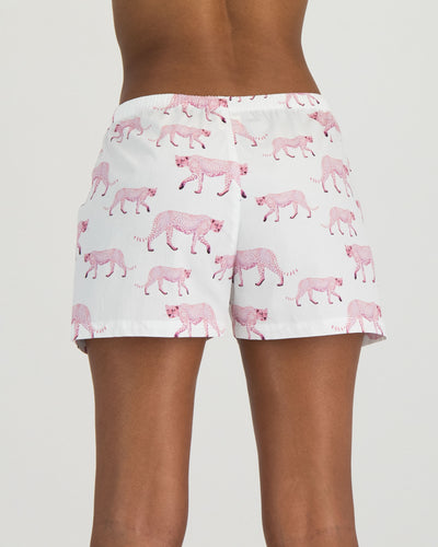 Womens Boxer Shorts Pink Cheetahs Back - Woodstock Laundry