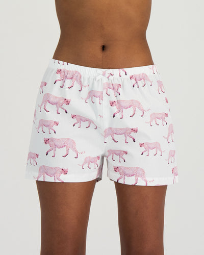 Womens Boxer Shorts Pink Cheetahs Front - Woodstock Laundry