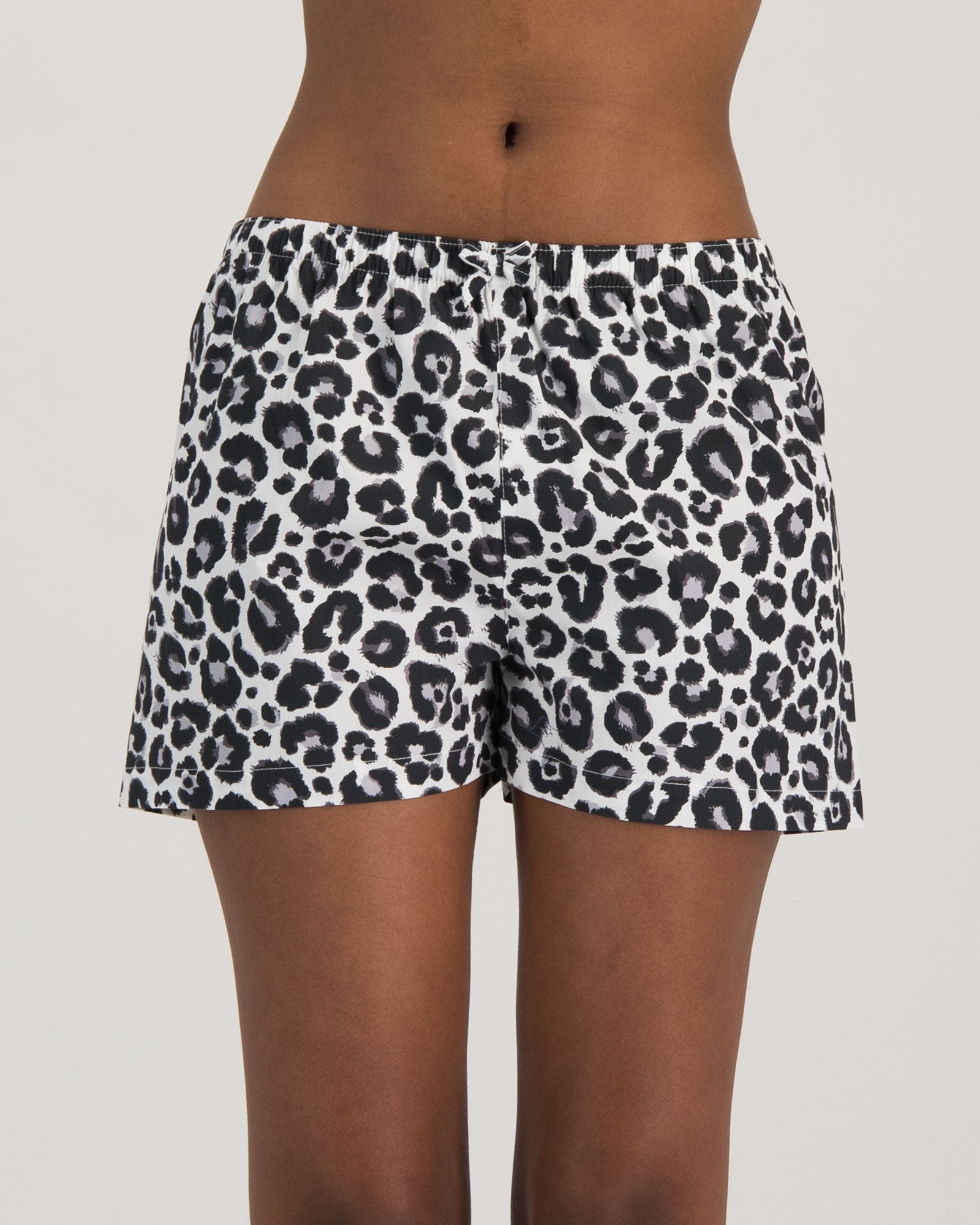 Womens Boxers Leopard White Front - Woodstock Laundry