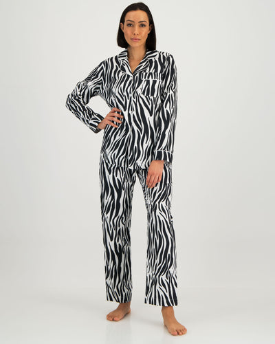 Womens Long Pyjama Set Zebra - Woodstock Laundry