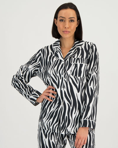 Womens Long Pyjama Shirt Zebra - Woodstock Laundry