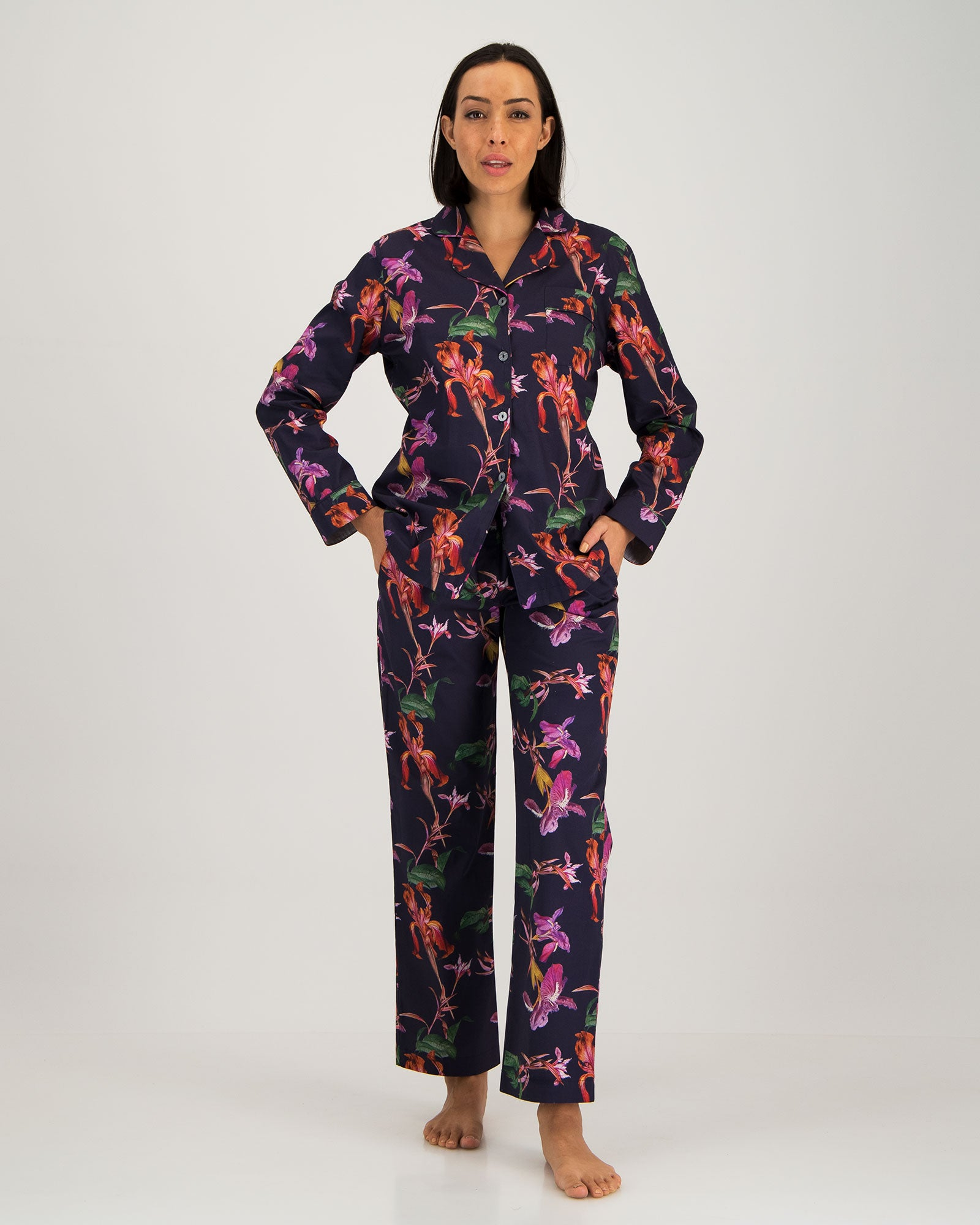 Womens Long Pyjamas Iris Navy