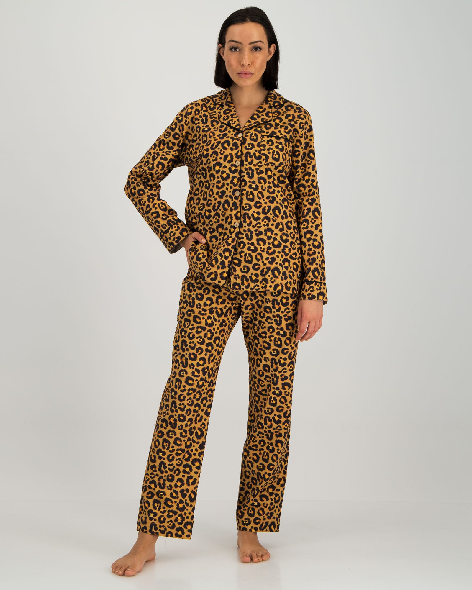 Womens Long Pyjamas - Leopard Skin