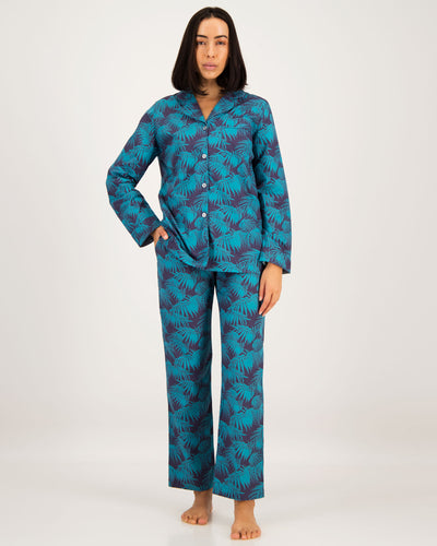 Womens Long Pyjamas Tropical Green