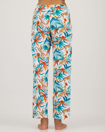 Womens Lounge Pants Jungle Cheetah White
