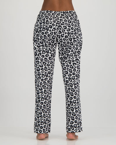 Womens Lounge Pants Leopard White Back - Woodstock Laundry