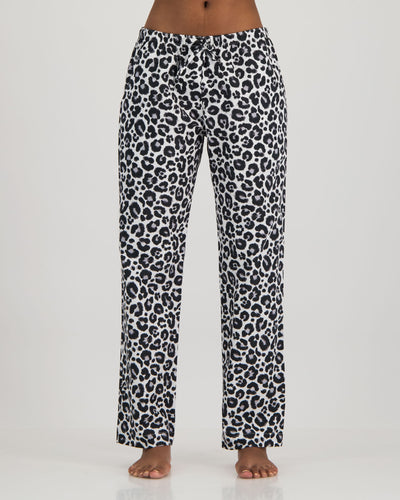 Womens Lounge Pants Leopard White Front - Woodstock Laundry