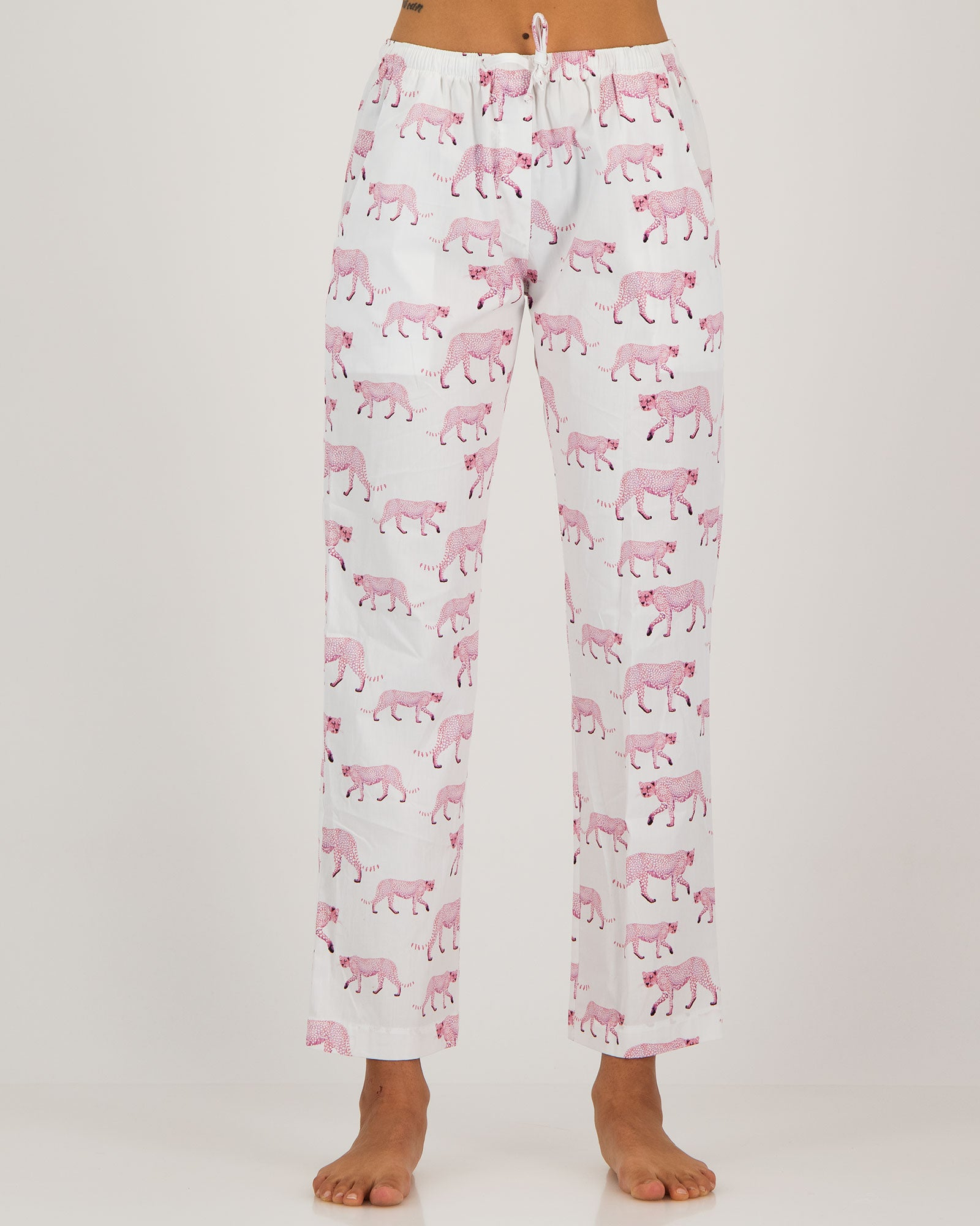 Womens Lounge Pants Pink Cheetahs