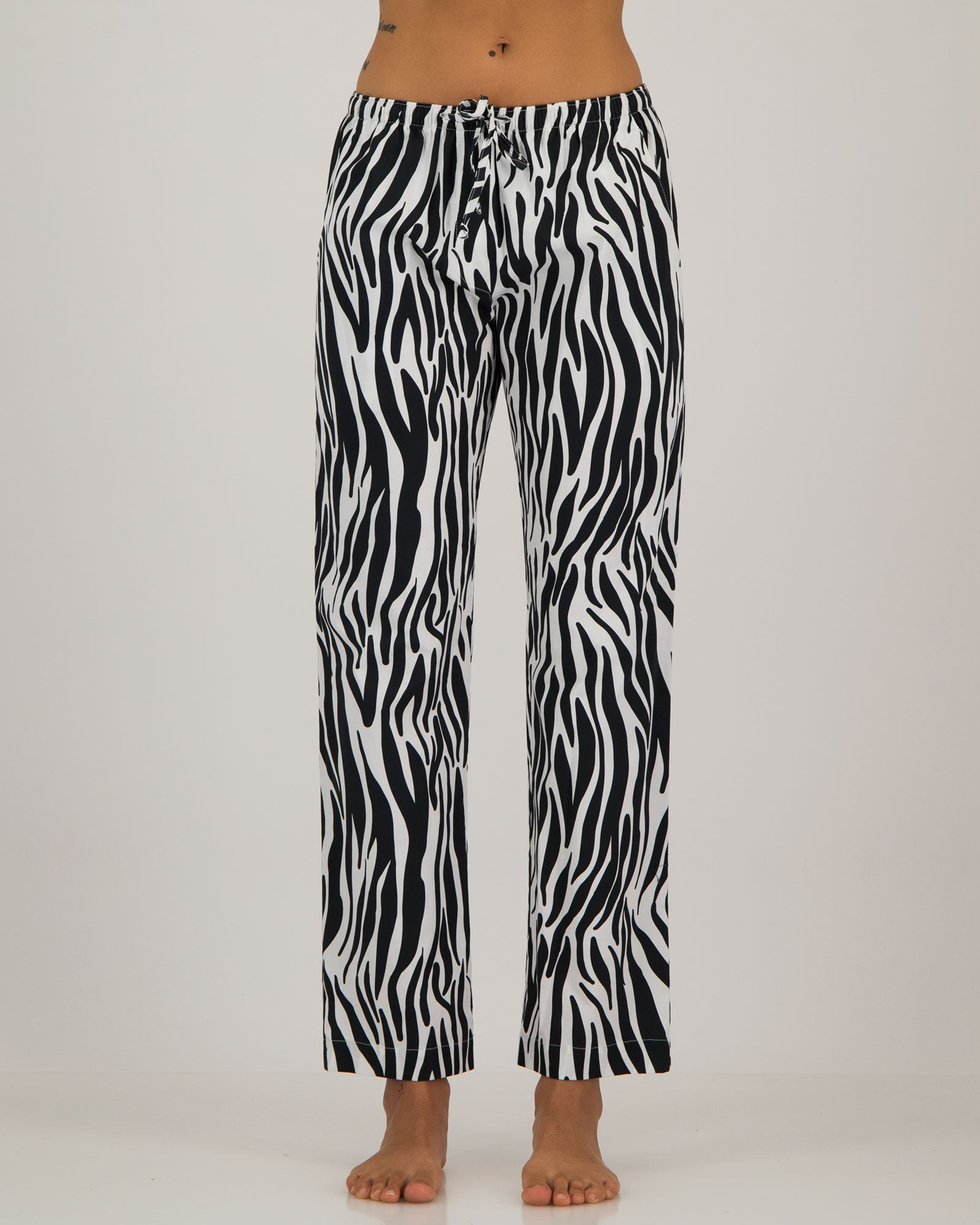Womens Lounge Pants Zebra Front - Woodstock Laundry