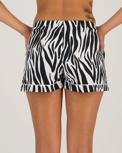 Womens Lounge Shorts Zebra Back - Woodstock Laundry