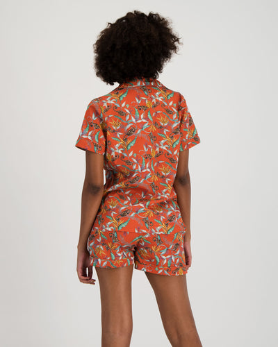 Womens Short Pyjamas Nag Apie Orange Back - Woodstock Laundry