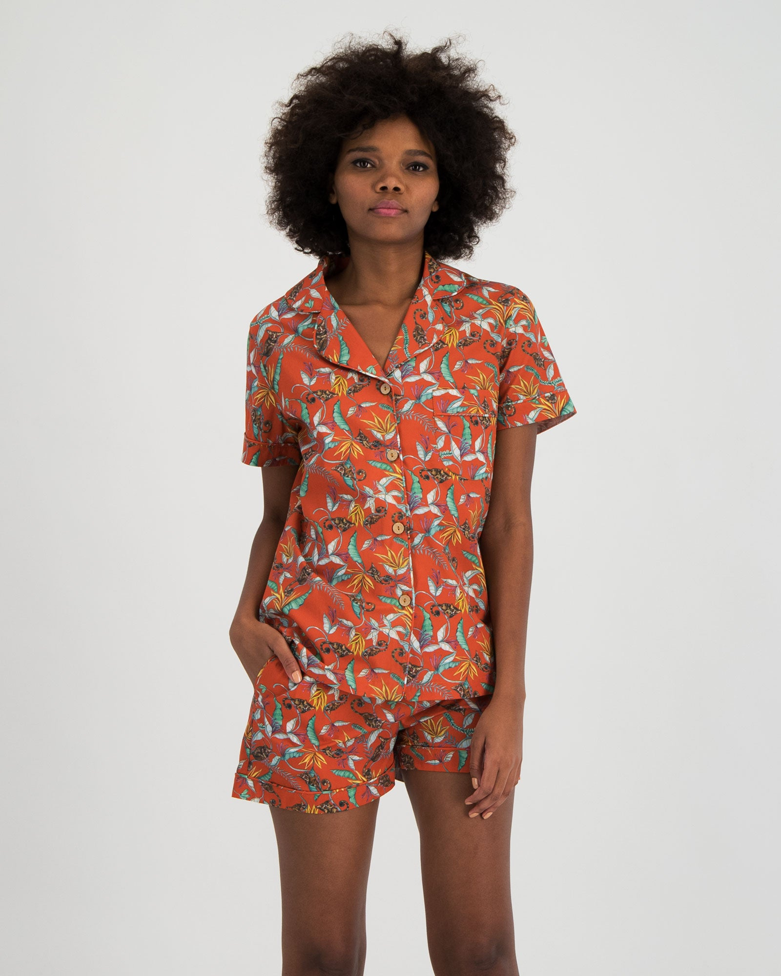 Womens Short Pyjamas Nag Apie Orange - Woodstock Laundry