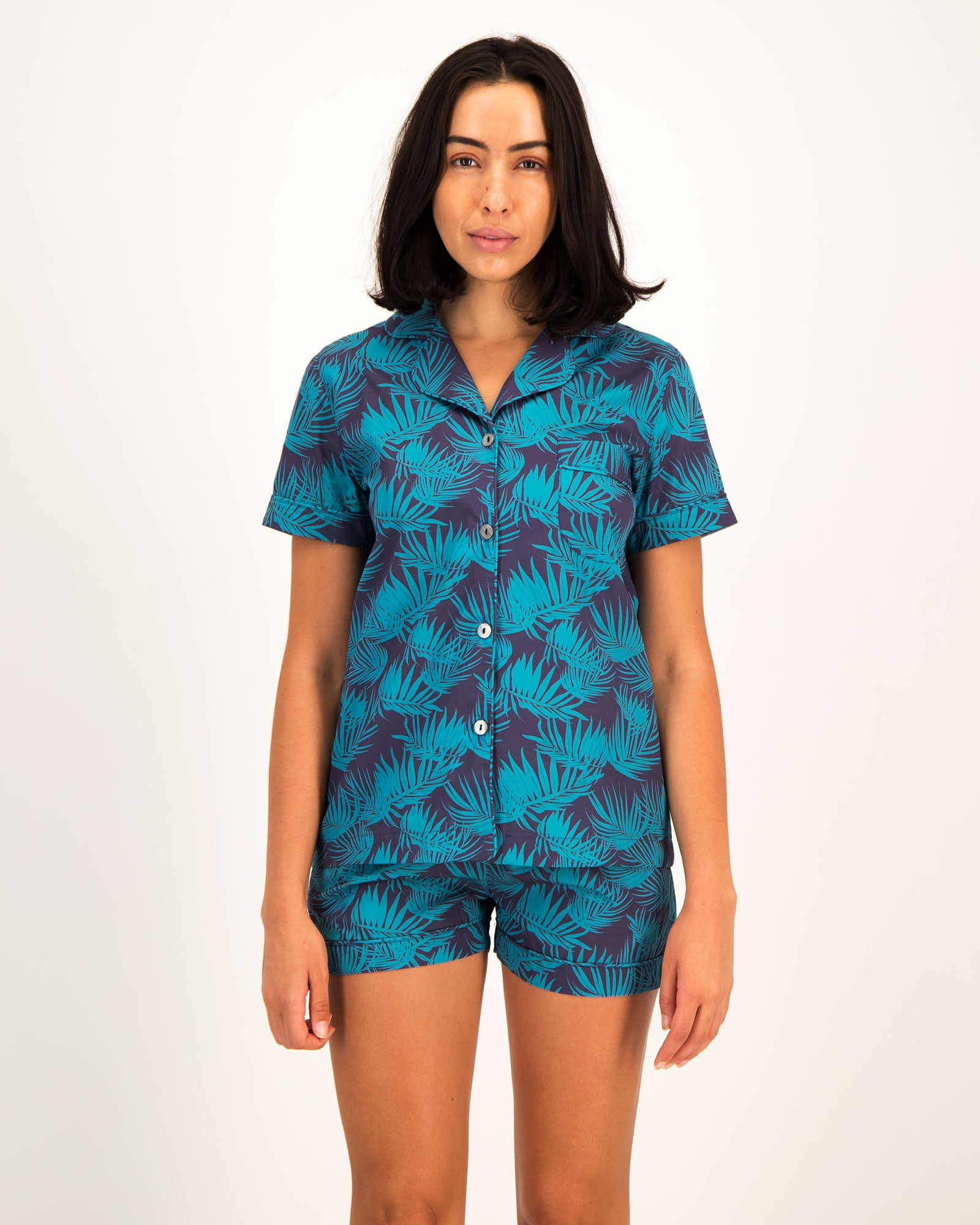 Womens Short Pyjamas Tropical Green