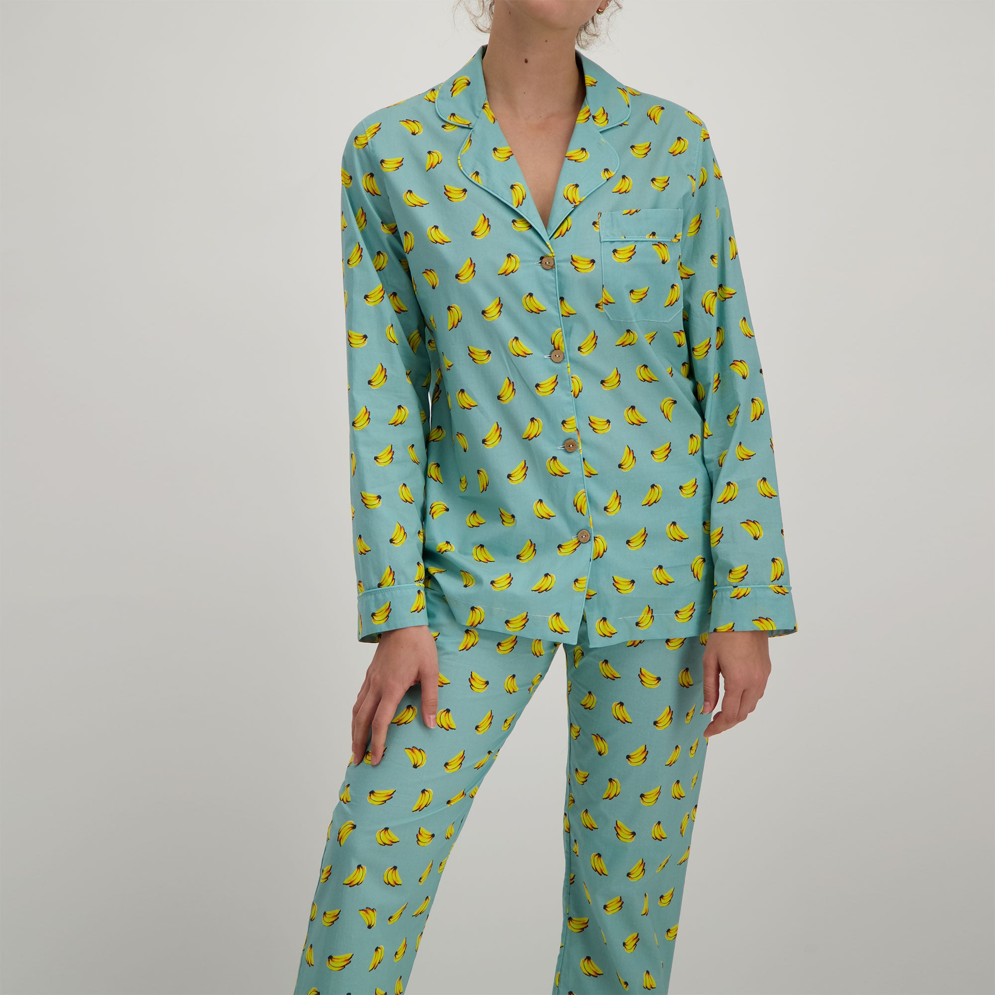 Womens Long Pyjamas Bananas - Woodstock Laundry