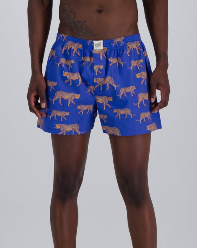 Mens Boxer Shorts Blue Cheetahs