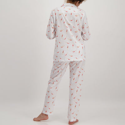 Womens Long Pyjamas Divers White - Woodstock Laundry