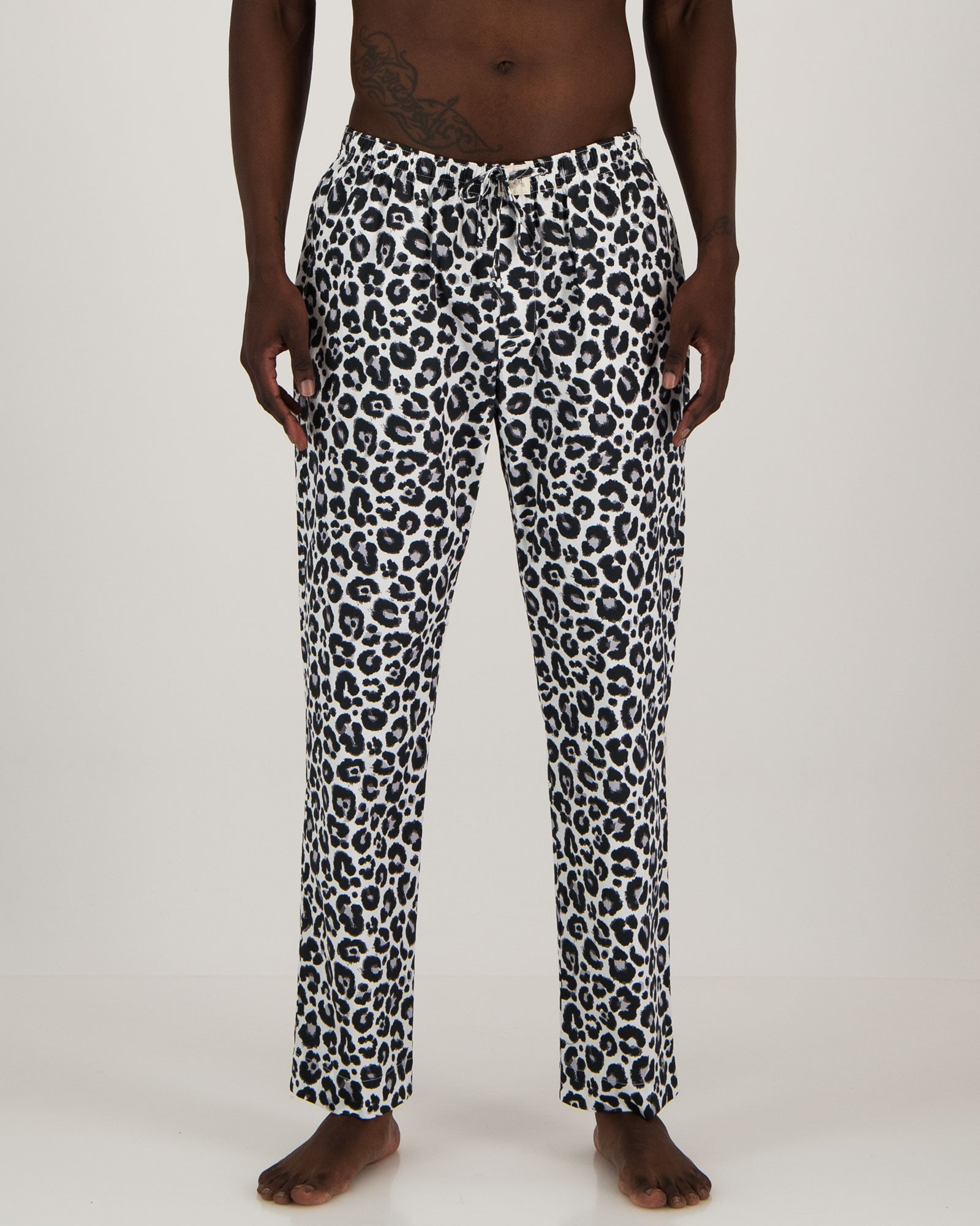 Mens Lounge Pants - Leopard Skin (White)