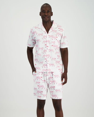 Mens Short Pyjamas - Pink Cheetahs