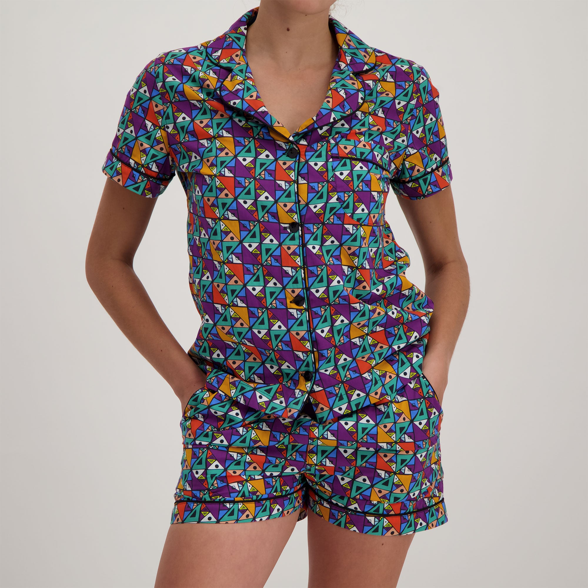Womens Short Pyjamas Tribal Color - Woodstock Laundry