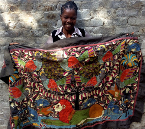 Amazing Lion Hunt embroidered cloth by Sylvia Khubayi