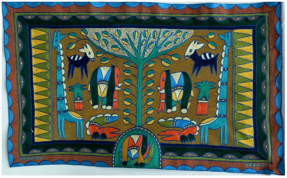 African animals represented in Kaross' embroidered art pieces: the African elephant
