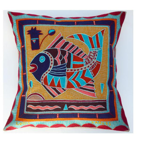 Navy, turquoise and wine cushion cover, hand-embroidered with fish design