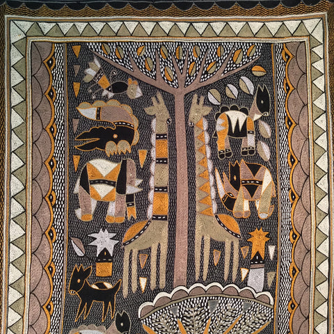 Ode to the African Savannah Peaceful Day Embroidered Cloth