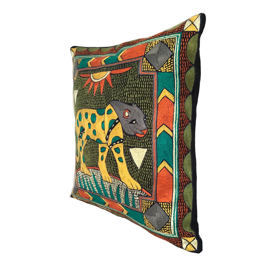 Bushveld Lush Leopard Hand-Embroidered Cushion Cover