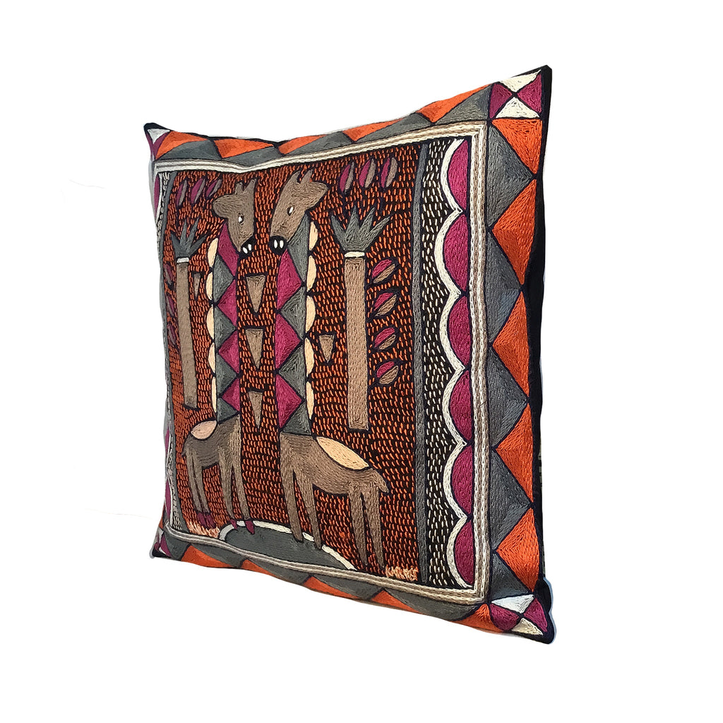 Ruby Sunset Giraffe Brothers Cushion Cover