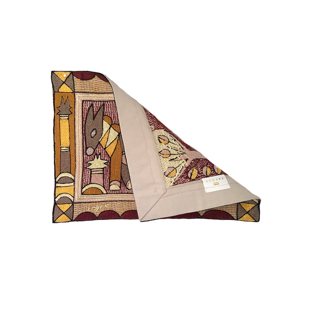 African Dawn Antelope Hand-Embroidered  Unpadded Placemat