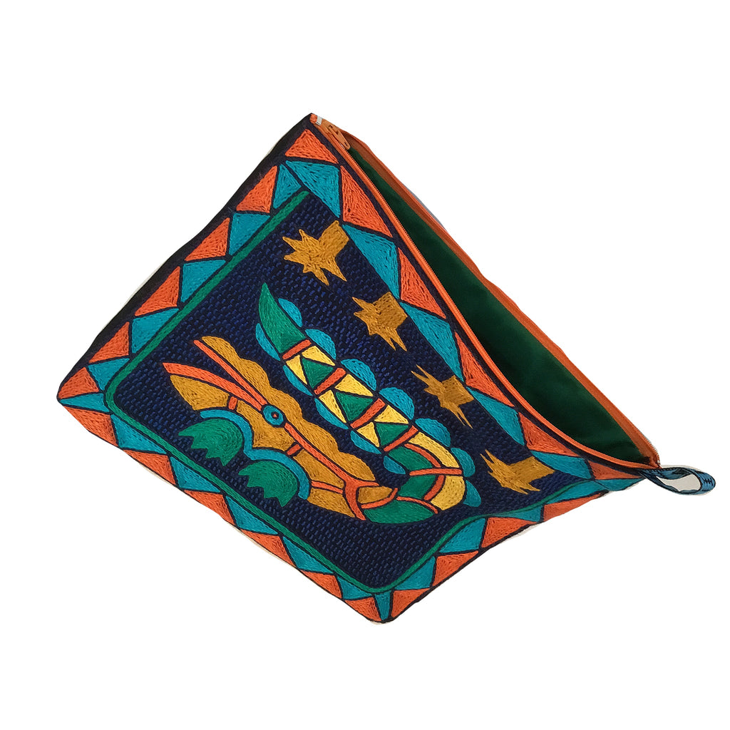 Marula's in Autumn Hand-Embroidered Zip pouch large