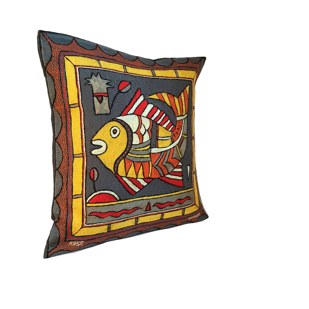 Royal Zulu Fat Fish Hand-Embroidered Cushion Cover