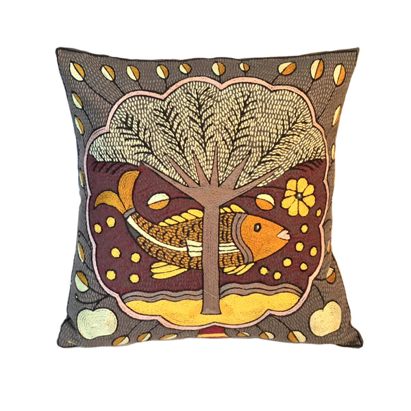 African Dawn Fish in a Cloud Cushion Cover