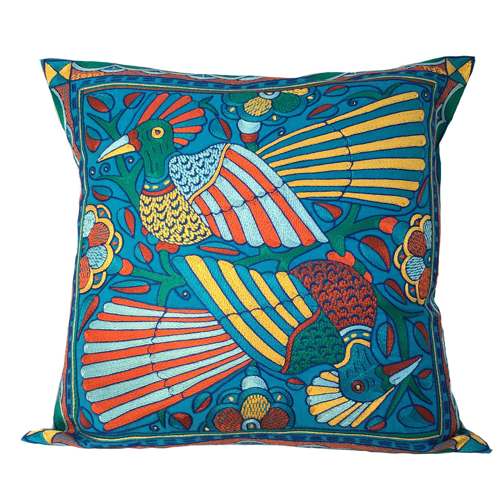 Valencia Two Birds in a Tree Hand-Embroidered Cushion Cover