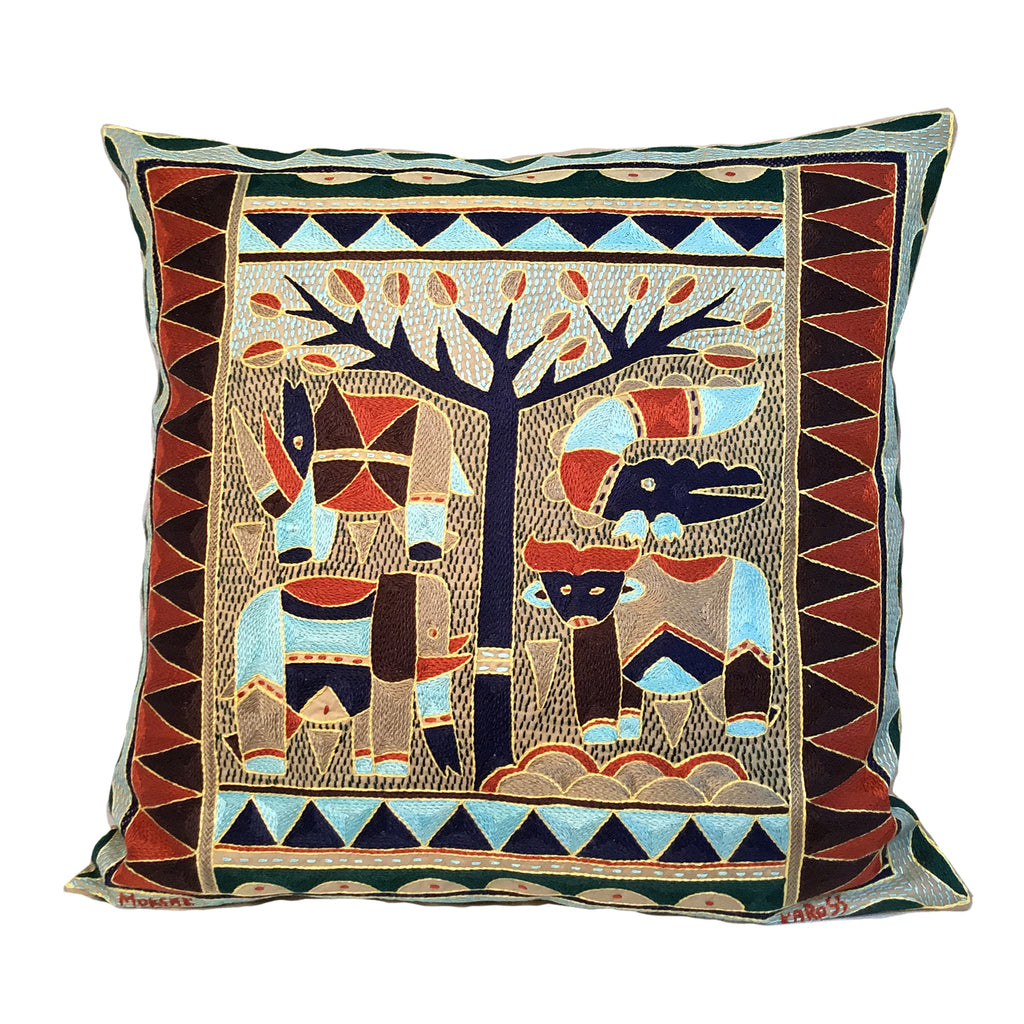 Mopani Moments Animals under a Thorntree Hand-Embroidered Cushion Cover