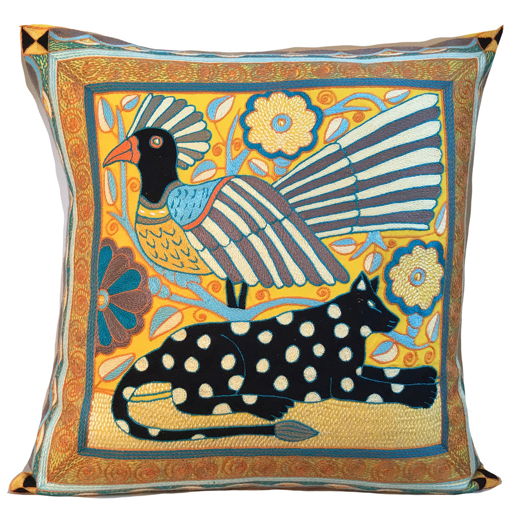 Coastal Calm Bird and a Leopard in a Flowers Cushion Cover