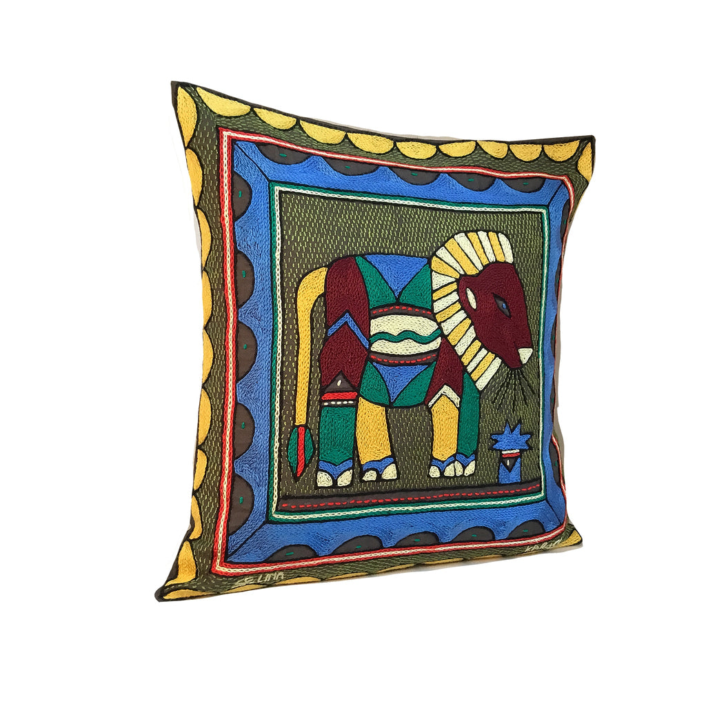 Viva Africa Lion Hand-Embroidered Cushion Cover