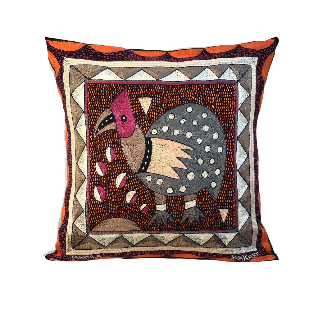 Ruby Sunset Guinea Fowl Cushion Cover