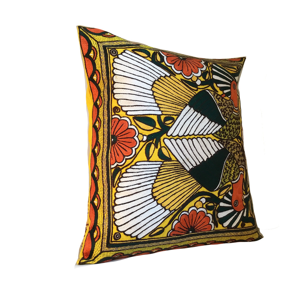 Bushveld Warmth Birds Hand-Embroidered Cushion Cover