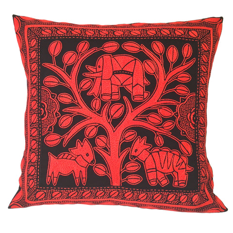 Royal Zulu Elephant in a Floral Tree Monochrome Cushion Cover