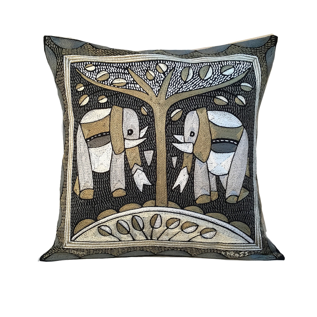 Scatterling of Africa Elephant Pair Cushion Cover