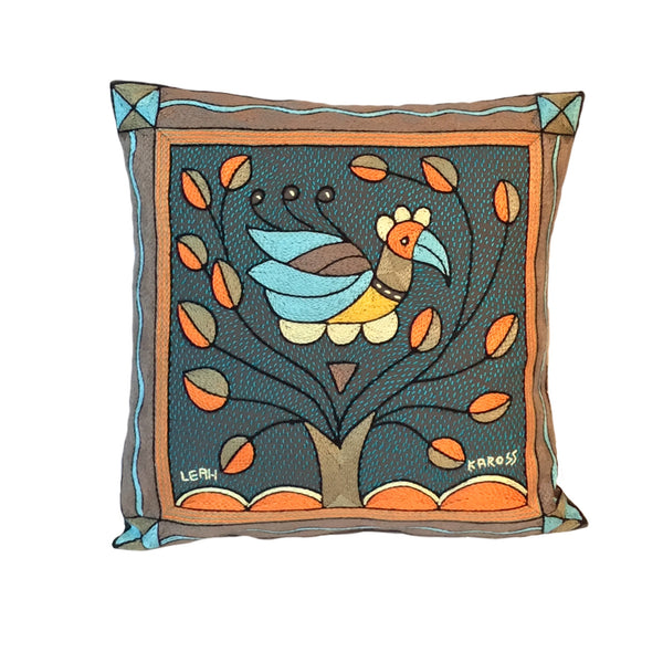 Coastal Calm Bird in Bush Cushion Cover
