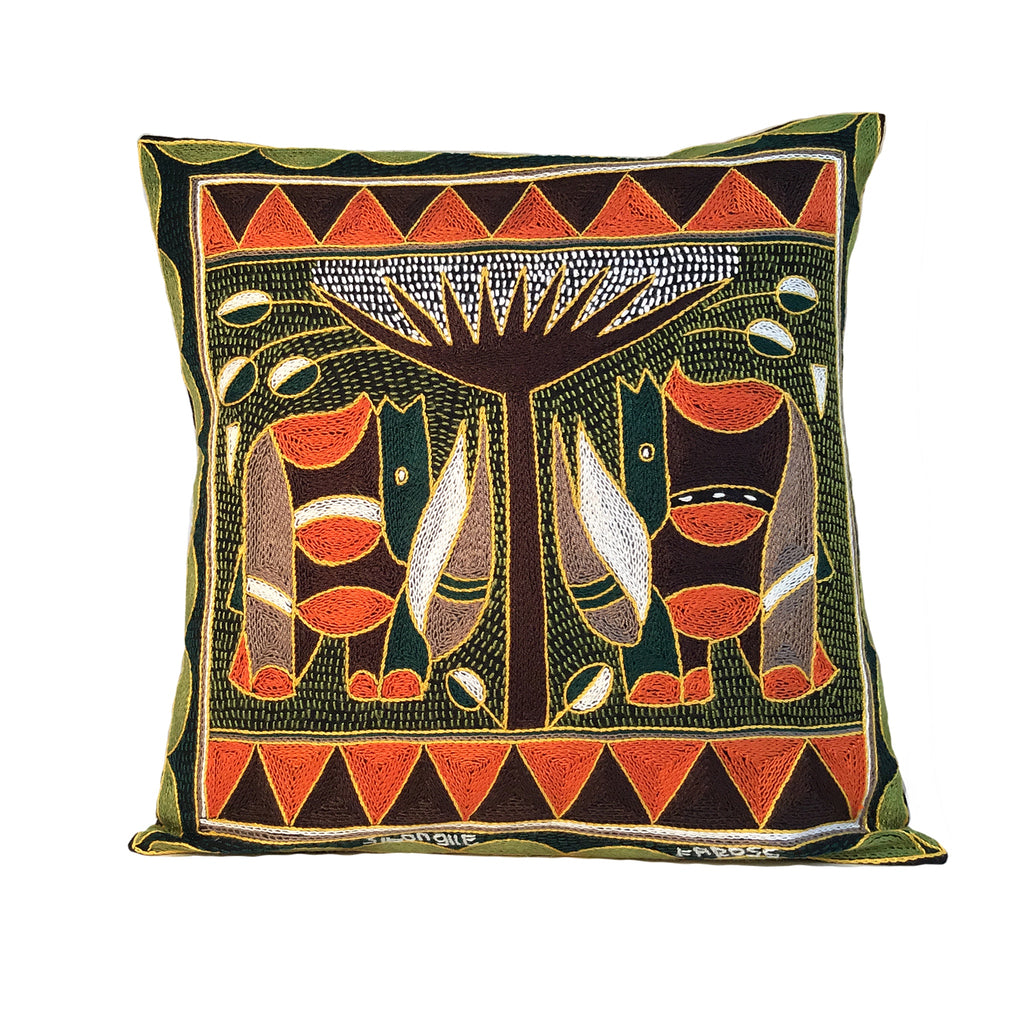 Bushveld Warmth Rhino Pair Cushion Cover