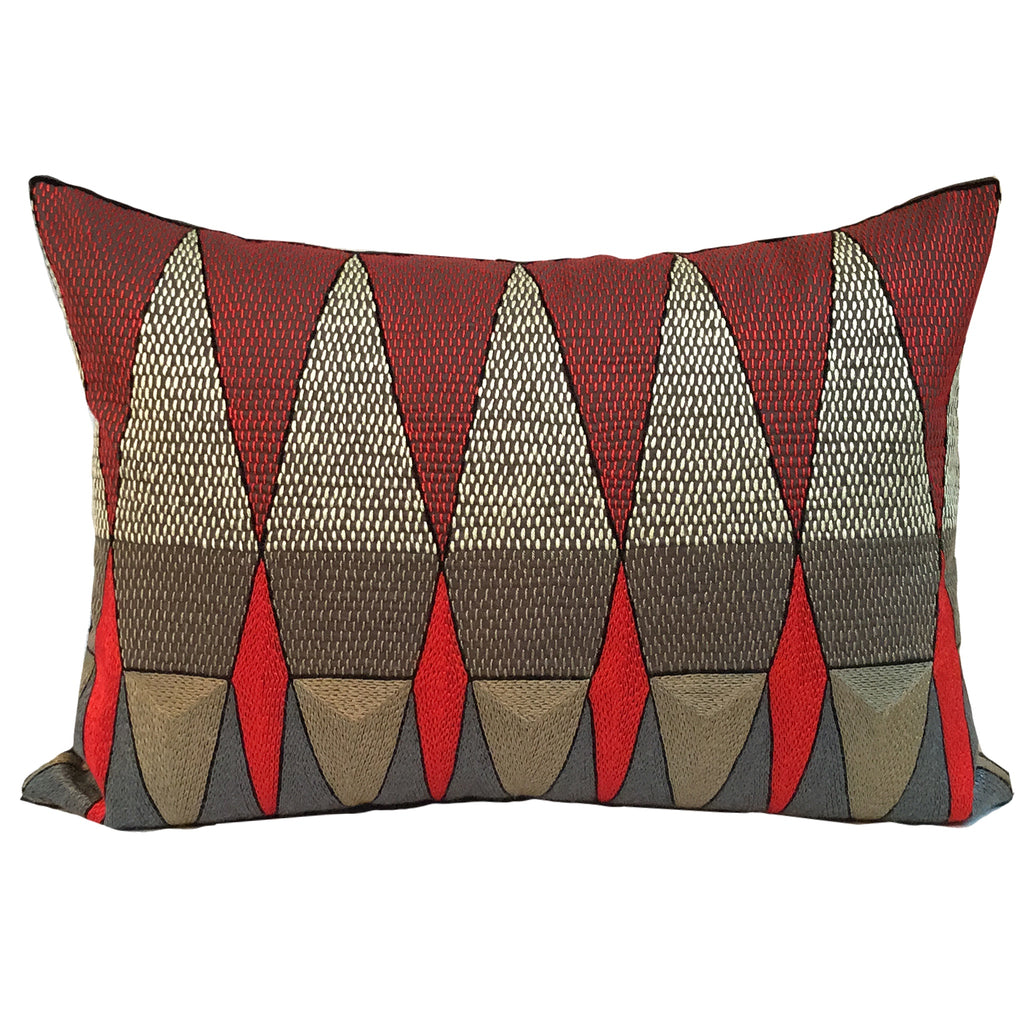 Royal Zulu Geometric Hand-Embroidered Cushion Cover