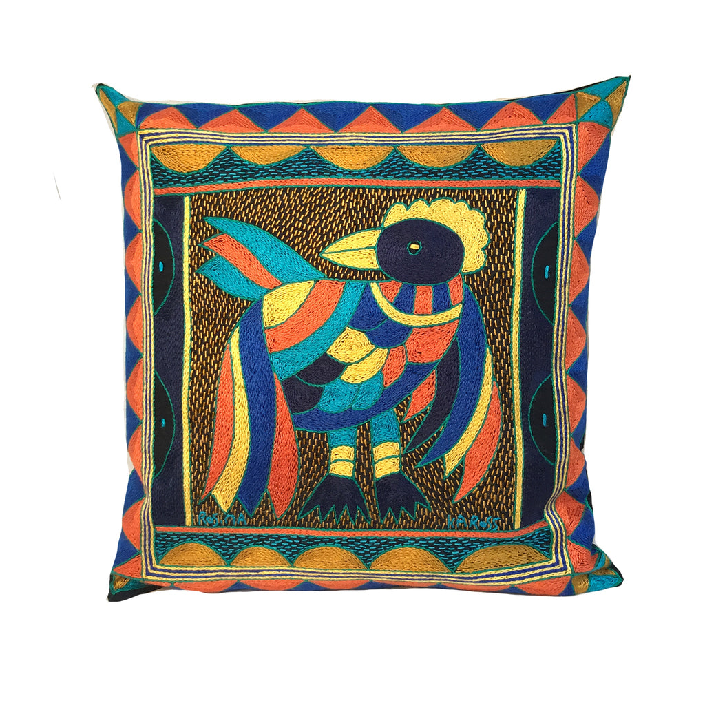 Marula's in Autumn Pheasant Hand-Embroidered  Cushion Cover