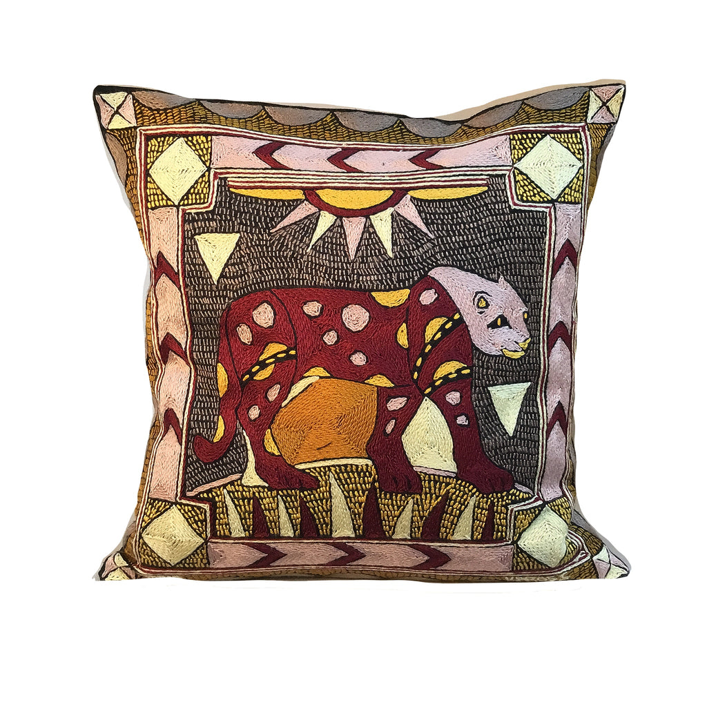 African Dawn Leopard Hand-Embroidered  Cushion Cover
