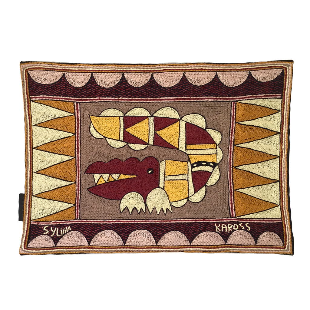 African Dawn Crocodile Hand-Embroidered Padded Placemat